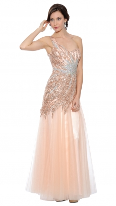 8447-lt-peach - Sleeveless Floor-Length Dress by T